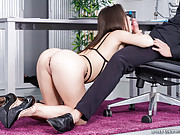 Spanish hottie in lingerie seduces and fucks a co-worker in the office
