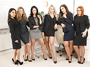 A bunch of sexy secretaries show off their lingerie during lunch break