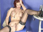 Lace top stockings amateur lady