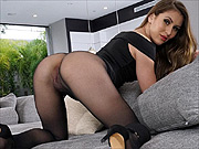 Paige Owens sheer pantyhose teasing