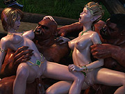 Goblens and Elves group sex by the fire