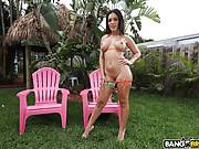 Brazilian bikini babe gets banged in the garden