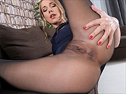 Alexis Crystal teases off pantyhose and spreads