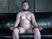 Harley Ace bound with nipples clamped with shaved pussy exposed
