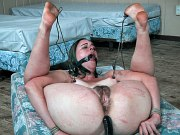 314 submissive bound in metal shackles her hairy pussy is toyed