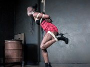 Bellah Dahl ebony in net pantyhose is rope bound and sex toyed