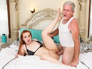 Cleo Clementine pale petite brunette pussy cum fucked by grandpa