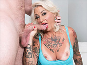 Mature woman Amelia Mack sucks dick