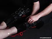 Legendary fetish model Cherry Torn leather bondage and gagged blonde babe