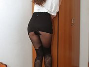 Diana has long legs which looks appetizing in this black model pantyhose layer