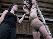 Wenona kinky sub is bound in rope and toyed by lezdom Sister Dee