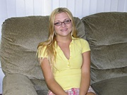 Nerdy Petite Blonde Teen Wearing Glasses Spreading Her Ass