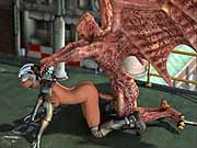 Winged demon fucks captured 3D female