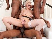 Maxim Law blonde interracial double gangbanged by four kinky guys