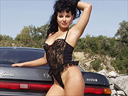 Outdoor lingerie petite teases on car