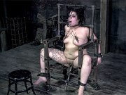 Klawdya Rothschild busty bound in metal chair and cage is toyed