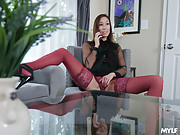 Slutty Asian housewife Christy Love fucks a glass dildo as soon as she gets home