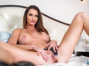 Brunette milf with fake hooters gets POV slammed in the bedroom