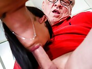 Skinny Slovakian girl gets licked and dicked by a horny grandpa