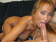 Cock sucking Asia woman gets his cum