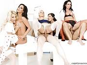 Hospital room pornstar orgy in stockings