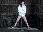 Calico Slave is bound masked and fixed in dungeon her ass toyed
