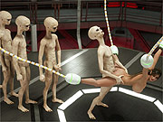 Lined up for alien gangbang of 3D babe