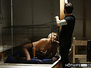 Yummy blonde lady gets released from her cage to fuck