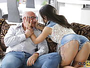 Hottie with fake hooters gets buttfucked by an old horndog