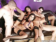 Foursome fuck in stockings for big tit twins Kit and Kat Lee