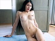 Asian shemale Allison posing in the nude