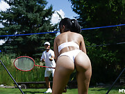 Spicy Latina MILF Katrina gets wet and horny during badminton